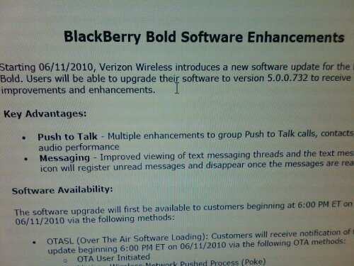 Verizon prepping software update for BlackBerry Bold 9650