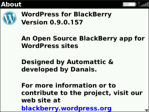 WordPress For BlackBerry Updated To v0.9.0.157
