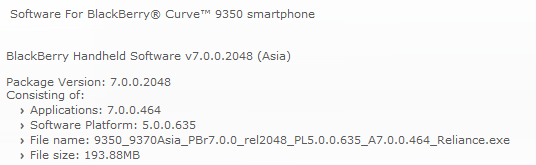 OS 7.0.0.464 for the BlackBerry Curve 9350