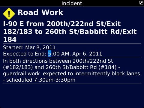 BlackBerry Traffic Incident Details