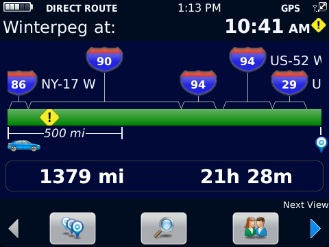BlackBerry Traffic Route Overview