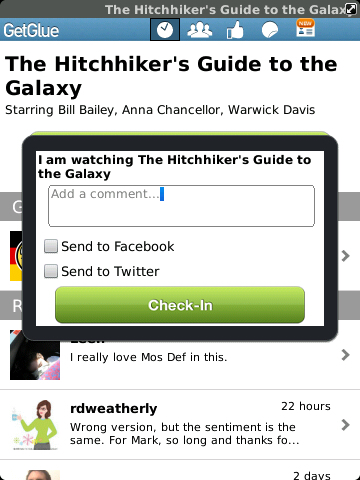 GetGlue Checkin, comment, share