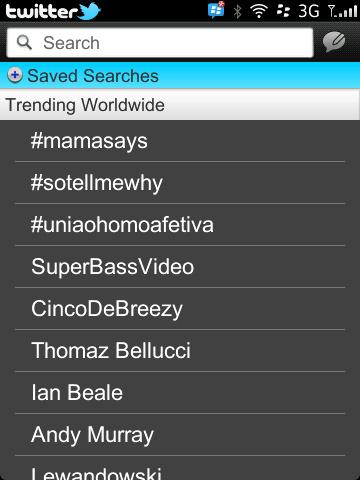 Twitter for BlackBerry Trending