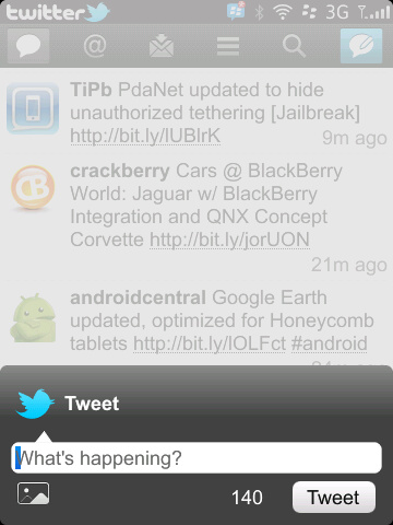 Twitter for BlackBerry v2.0 Compose
