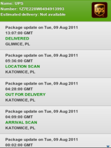 Package Tracking for BlackBerry
