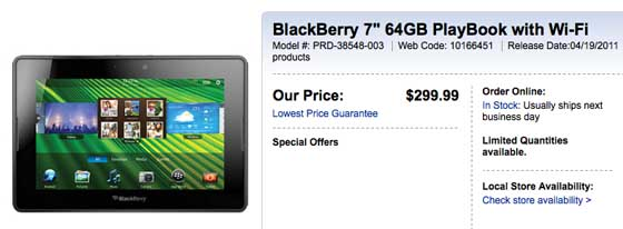 Best Buy Canada drops BlackBerry PlayBook to $299