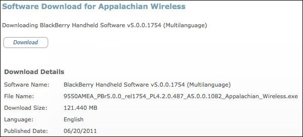 BlackBerry Storm 2 9550 OS 5.0.0.1082