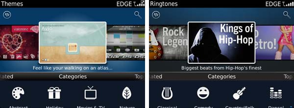 Themes and Ringtones in BlackBerry App World