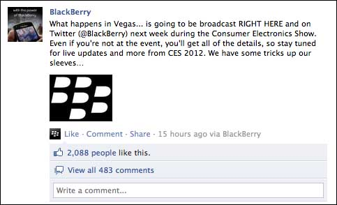 BlackBerry Facebook CES 2012
