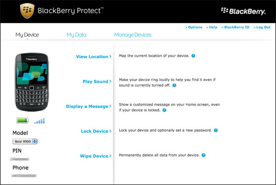 BlackBerry Protect website