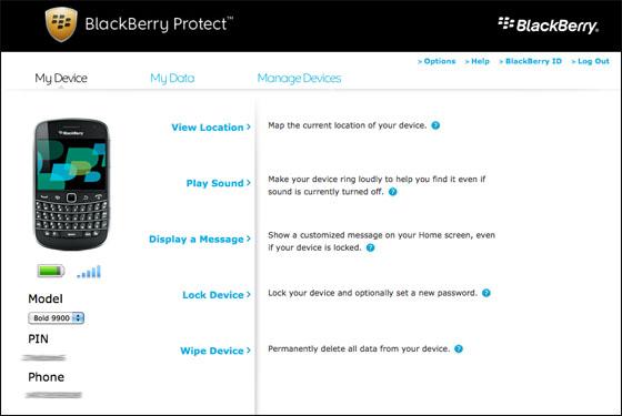 BlackBerry Protect website