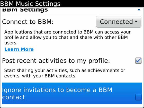 BBM Music settings