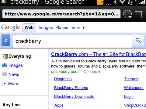 Google mobile on BlackBerry