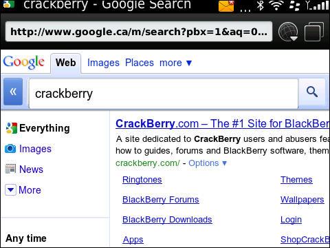Google mobile on BlackBerry