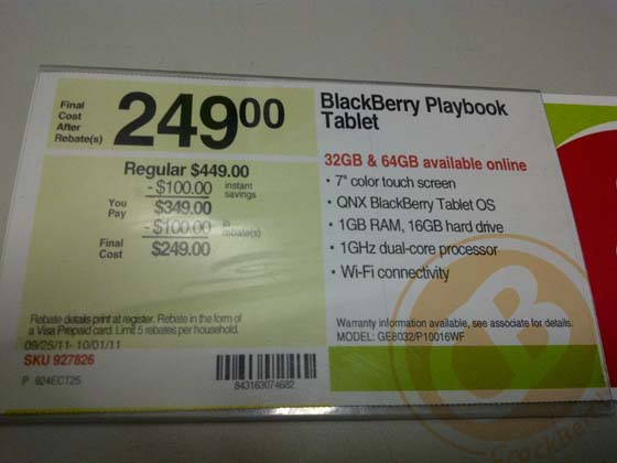 BlackBerry PlayBook on sale at Staples