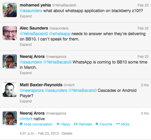 Neeraj Arora confirms Whatsapp for BlackBerry 10
