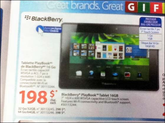 BlackBerry PlayBook on sale