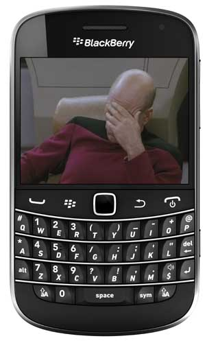 BlackBerry Bold 9900 facepalm