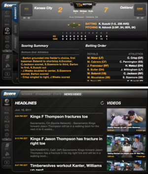 ScoreMobile Tablet for BlackBerry PlayBook