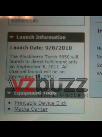 BlackBerry Torch 9850 on Verizon