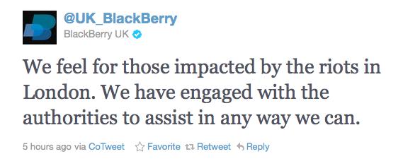 BlackBerry UK Twitter