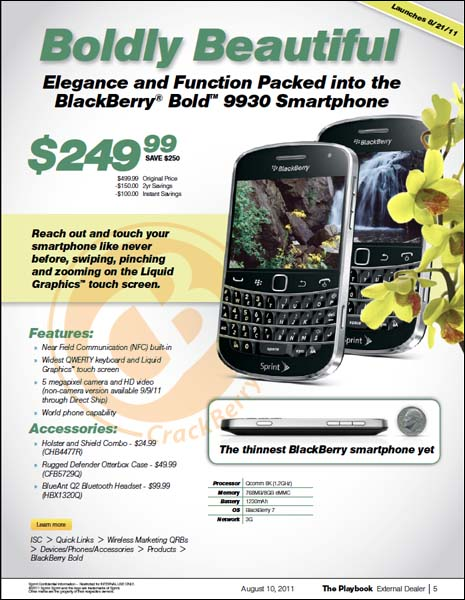 Sprint BlackBerry Bold 9930