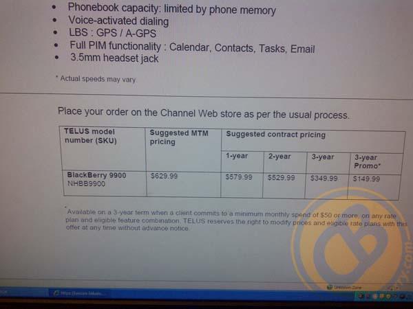 TELUS BlackBerry Bold 9900 pricing