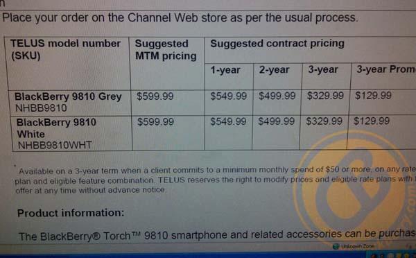 TELUS BlackBerry Torch 9810 pricing