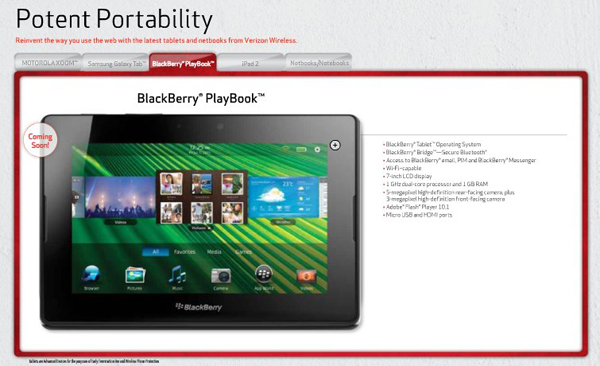 Verizon Wireless PlayBook coming soon
