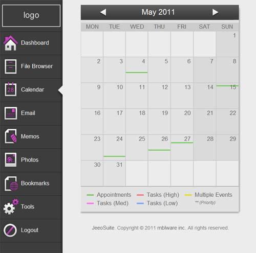 JeeoSuite calendar view