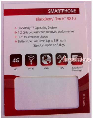 BlackBerry Torch 2 9810 Rogers price card