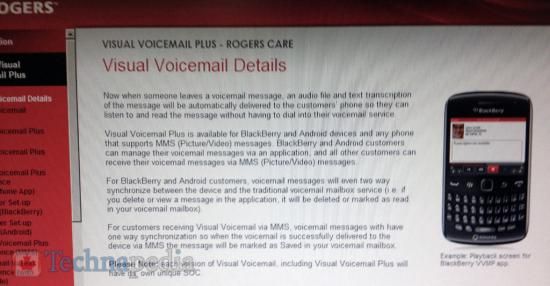 Rogers Visual Voicemail for BlackBerry