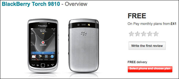 Vodafone UK BlackBerry Torch 9810