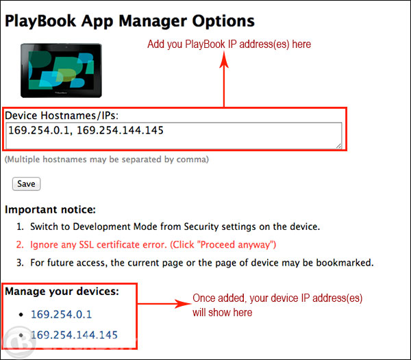 Adding your IP Address to PlayBook App Manager