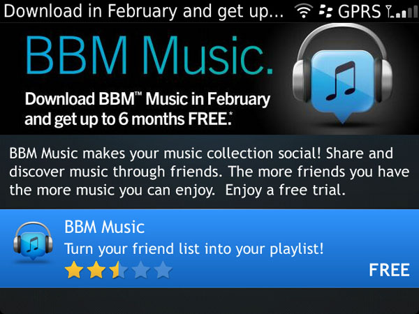 BBM Music, up to 6 months free