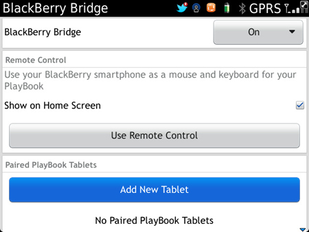 BlackBerry Bridge Add a Tablet