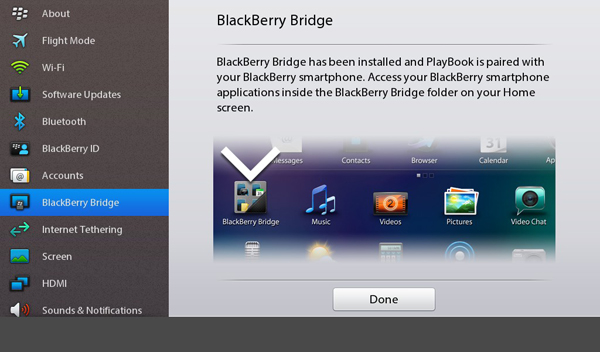 BlackBerry Bridge done
