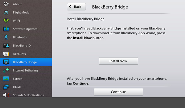 BlackBerry Bridge Installation prompt
