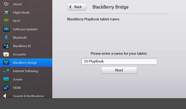 BlackBerry Bridge PlayBook name