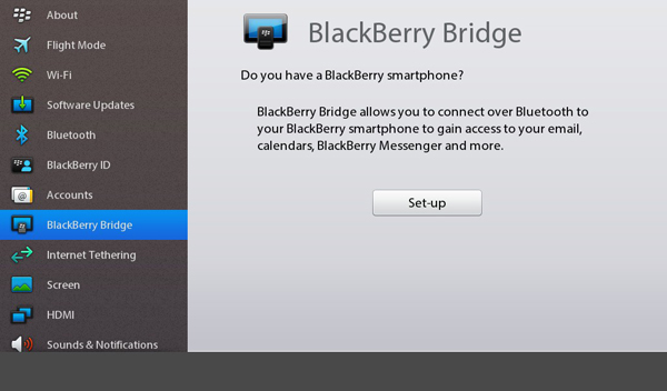 BlackBerry Bridge Setup