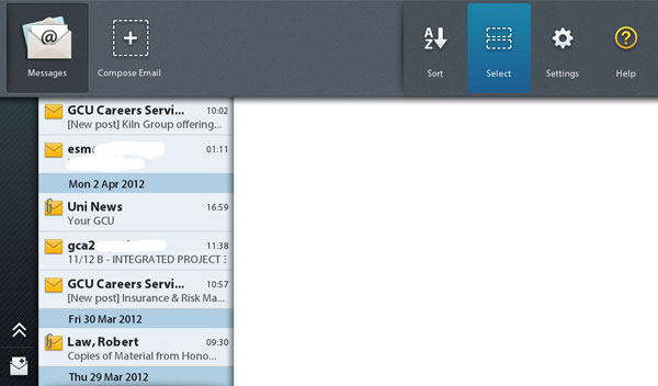 Select Email option for PlayBook