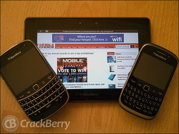 BlackBerry smartphones nominated in the Mobile Choice Consumer Awards 2012