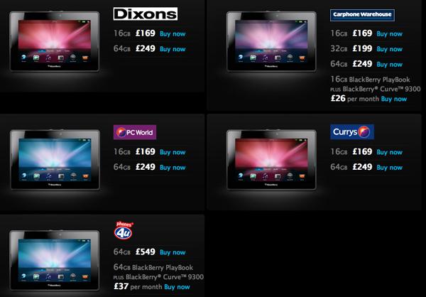 UK BlackBerry PlayBook Sale