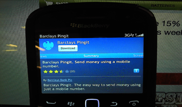 Barclays Pingit App for BlackBerry