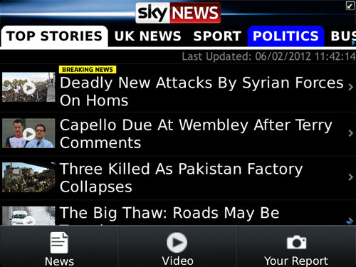 Sky News App Top Stories