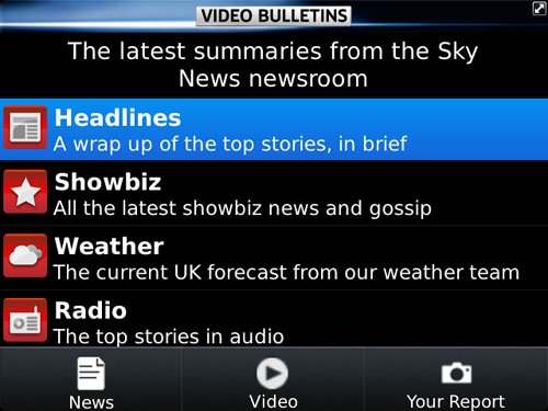 Sky News app Video Bulletins