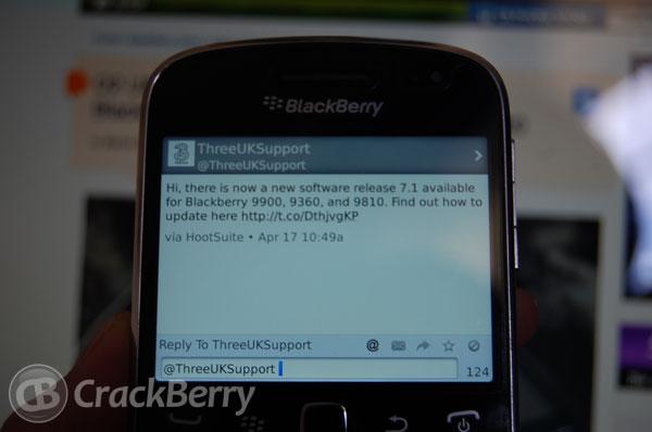 BlackBerry 7.1 released by Three UK