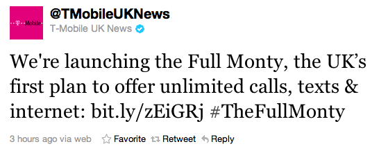 T-Mobile UK Tweet - Unlimited data bundles
